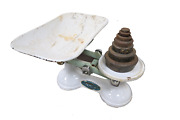 Vintage English F. J. Thornton White Cast Iron Balance Scale With Weights