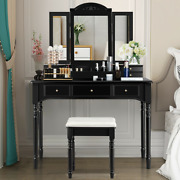 Makeup Dressing Table With Tri-folding Mirror And Cushioned Stool For Women