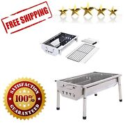 Charcoal Grill Barbecue Portable Stainless Steel Folding Camping Tabletop Kebab