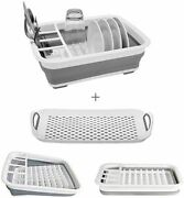 Collapsible Dish Drying Rack With Drainer Board Set Portable Dish Drainer For Rv
