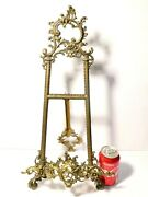 Vintage Large Gilt Brass Frame Stand Detailed Open Work Foliage Pattern 21 Tall