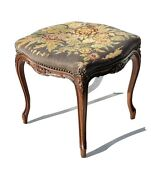 Fine Antique Carved Country French Footstool Ottoman