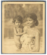 Ceylon Photo Of A Mother With Her Child Vintage Silver Print. Tirage Argenti