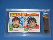 John Hannah And Gale Gillingham Signed 1975 Topps Card 205 Beckett Authenticated