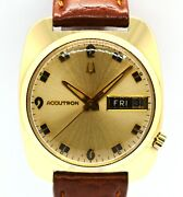 Men's 1969 Bulova Accutron Solid 14k Yellow Gold Case W/ Leather Band Cal. 2182
