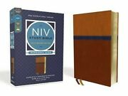 Niv Personal Size Study Bible Revised Edition Soft Leather-look Brown/blue New