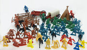 Large Lot Mixed Vintage Plastic Cowboy Indian Western Horse Carriages Fences