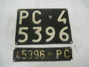 2x Italy Piacenza Older 1959 Pc 45396 License Plates And Registration Documents