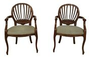 51193e Pair Century French Style Open Arm Chairs