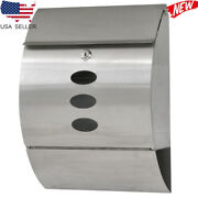 Wall Mount Lockable Mail Box Letter Newspaper Roll Storage Stainless Steel Usa