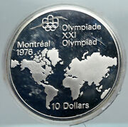 1973 Canada Elizabeth Ii Olympics Montreal World Map Proof Silver 10 Coin I88480