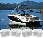4 Rockville Hp4s 4 Marine Box Speakers With Swivel Bracket For Boats