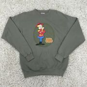 Vtg 90s Dudley Do Right Rocky And Bullwinkle Olive Green Cartoon Sweatshirt Large