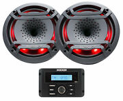 Kicker 46kmc3 Marine Bluetooth/usb Gauge Receiver+2 Hifonics 8 Speakers