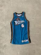 Nba Game Issued Signed Detroit Pistons Terry Mills 6 Champion Jersey 96-97 50l+4