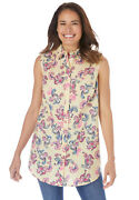 Woman Within Womenand039s Plus Size Perfect Button Down Sleeveless Shirt