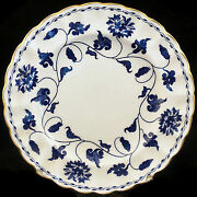 New Spode Blue Colonel Gold Bread And Butter Plate Authorized Dealer