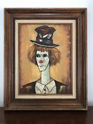 'chester' Framed Clown By Clement Original Oil Painting, Collier Art Corp. Coa