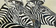 Huge Oil Painting Of Two Zebras - By Clive Fredriksson - Framed And Stunning