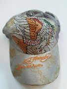 Preowned Ed Hardy Silver Sparkle Baseball Hat