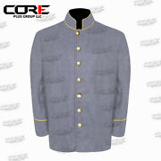 Us Civil War Confederate 7 Csa Buttons Gray Sack Coat With Pipping Trims