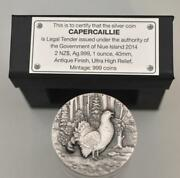 Capercaillie 2014 Niue .999 Fine Silver Antique Finish Ultra High Relief