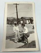 Vintage Photograph Of Young Boy Son And Father Talking On Sidewalk 1930's