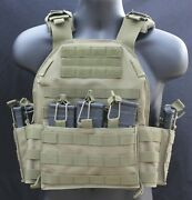 Tactical Vest -tac Plate Carrier - With Mag Pouches - Military- Adjustable