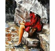 5d Diamond Painting Woman Waiting In The Rain Design Embroidery House Decoration
