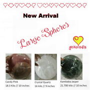 3 Large Spheres New Arrival Kambaba Jasper Crystal Quartz And Candy Pink 10 Inch