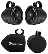 2 Hifonics Tps-cms65 6.5 300w Wakeboard Tower Speakers+covers For Rzr/atv/utv