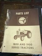 Cockshutt Oliver 1800 1900 Tractor Parts Manual S1-9-32 1963