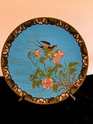 Very Fine Antique Meiji Japanese Cloisonne Charger Late 1800s