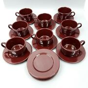 8 Vintage Italy Cup And Saucer Sets Brown Coffee Tea Mug Extra Pcs