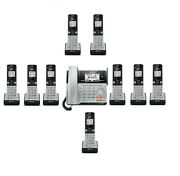 Atandt 2 Line Cordless Intercom Paging Dual Conference Phone System W 10 Handsets