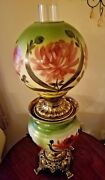 Stunning Antique Gone W/ The Wind Parlor Lamp Hand Painted And Converted