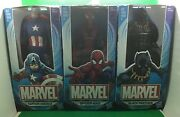 Hasbro Marvel Spiderman Captain America Black Panther 6 Inch Figures Lot Of 3