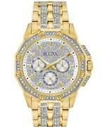 Bulova Menand039s Crystal Accented Gold-tone Stainless Steel Bracelet Watch 43mm