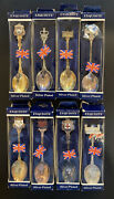 Lot Of 8 Different Exquisite Collectors Spoons Uk Silver Plated. Free Shipping