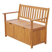 47 Wooden Outdoor Patio Storage Chest Bench W/ Removable Waterproof Lining Yard