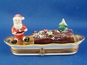 Gold Accented Serving Tray With Yule Log And Santa - Authentic Limoges Box