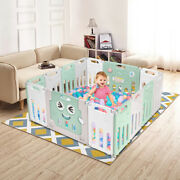 Fordable Baby 14 Panel Playpen Activity Safety Gate Play Yard Portable Fence Kid