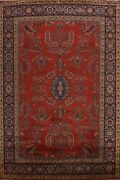 Red Vegetable Dye Floral Agra Oriental Area Rug Hand-knotted Dining Room 9and039x12and039