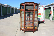 Fabulous Large Victorian Oak Bow Front China Cabinet With Fancy Curio Top Ca1890
