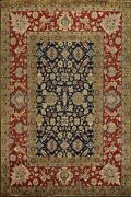 Geometric Navy Blue Agra Oriental Area Rug Wool Hand-knotted Vegetable Dye 9x12