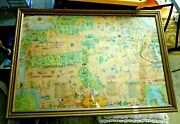 Antique Lovely Framed Cartoon Map Of San Francisco Cal By Harrison Godwin 1920and039s
