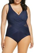 Miraclesuit Midnight Navy Blue Crossover Illusionist One Piece Swimsuit 20w 2x