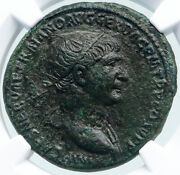 Trajan Authentic Ancient Roman Dupondius Coin 106ad Rome Victory Ngc I87798