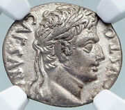 Augustus Authentic Ancient 18bc Silver Roman Coin W Horse Chariot Ngc I87802