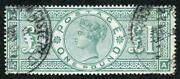 Sg212 One Pound Green Wmk Three Imperial Crowns Used Clear Profile